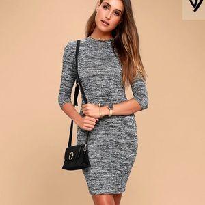 Modern Marl Grey Bodycon Midi Dress NWT